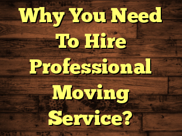 Why You Need To Hire Professional Moving Service?